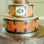 Three tiered fondant drum head groom's cake
