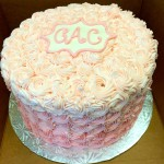 Pink ombre rosette buttercream cake with initials