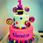 Two tiered fondant sweet shoppe birthday cake