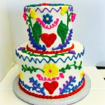 Two tiered fiesta themed birthday cake