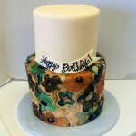 Two tiered fondant birthday cake with wafer paper painting
