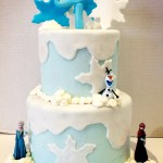 Two tiered frozen themed birthday cake