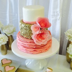 Three tiered fondant buttercream baby shower cake with gold sequins and ruffles