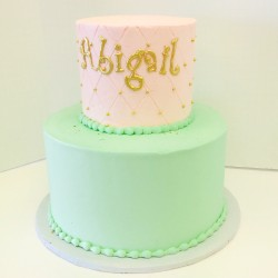 Two tierd mint and pale pink buttercream cake with quilting and gold accents