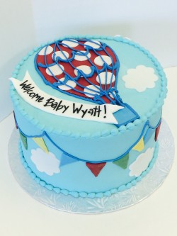 Hot air ballon themed baby shower cake