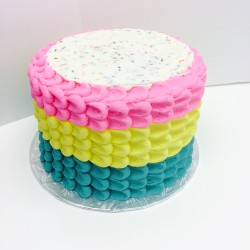 Three colored petal buttercream with sprinkles