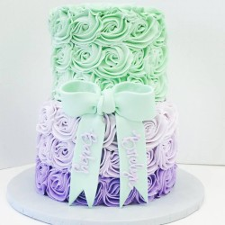 Two tiered lavender ombre and mint rosette baby shower cake