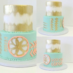 Boho chic cake with handpainted gold details