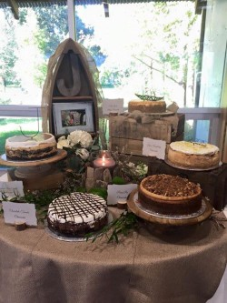 Groom's table of assorted cheesecakes