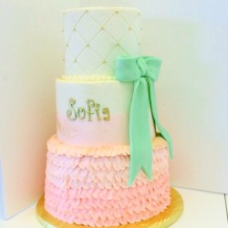 Three tiered buttercream cake with pink ruffles, quilting with gold pearls and mint green fondant bow