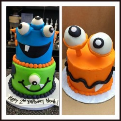 Two monster cake with matching smash cake