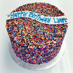 Sprinkle covered birthday cake