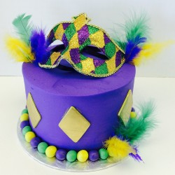 Mardi Gras themed birthday cake