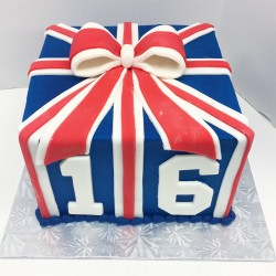 British flag inspired 16th birthday tea party cake