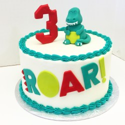 Dinosaur third birthday cake! Buttercream with fondant decor