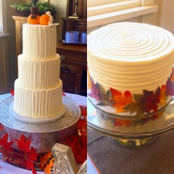 Three tiered vertical lined buttercream wedding cake with horizontal lined groom's cake