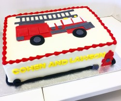 Firetruck joint birthday sheet cake