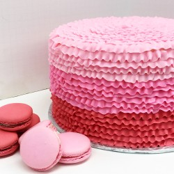 Ombre ruffled cake with matching French macarons