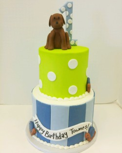 "Two tiered ""Snails and Puppy Dog Tails"" inspired birthday cake"
