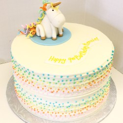 Unicorn birthday cake with pastel dot piping
