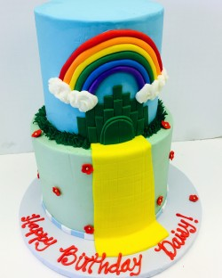 Two tiered Wizard of Oz inspired birthday cake